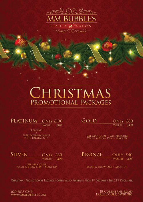 Christmas Promotional Packages Mm Bubbles Beauty Salon